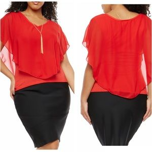 Tops - Plus Size Overlay Top with Necklace